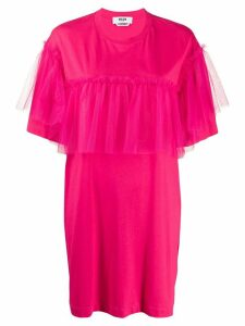 MSGM tulle-trimmed T-shirt dress - PINK