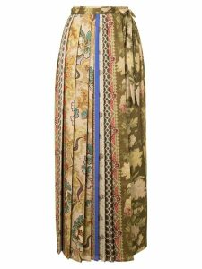 Pierre-Louis Mascia mixed-print pleated skirt - Brown