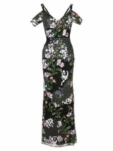 Marchesa Notte floral embroidered fishtail gown - Black