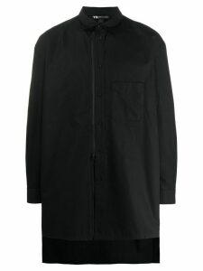 Y-3 asymmetric hem embroidered logo shirt - Black