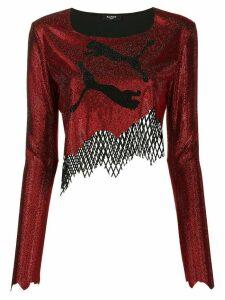 Balmain x Puma asymmetrical crop top - Red