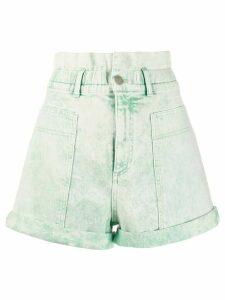 Stella McCartney distressed high-rise denim shorts - Green