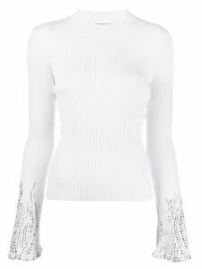 Ermanno Scervino long sleeve crystal-embellished cuffs sweater - White