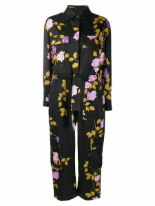 MSGM rose-print long-sleeved boiler suit - Black