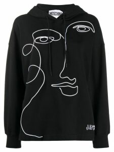 Moschino face embroidery hoodie - Black