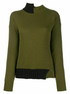 Marni asymmetric high-neck sweater - Green