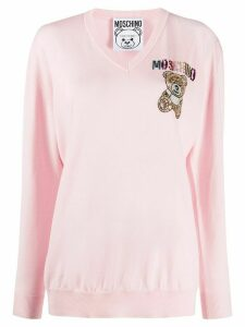 Moschino Teddy-embellished V-neck jumper - PINK