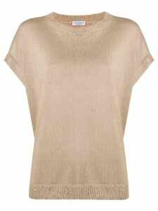 Brunello Cucinelli dropped shoulder knitted top - NEUTRALS