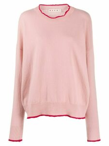 Marni contrast-trim sweater - PINK