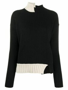 Marni asymmetric high-neck jumper - Black