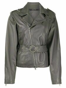 Maison Margiela belted leather jacket - Grey