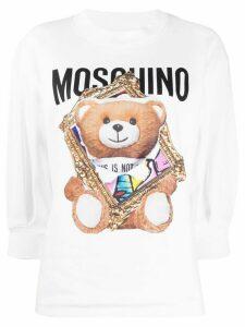 Moschino frame Teddy-print sweatshirt - White