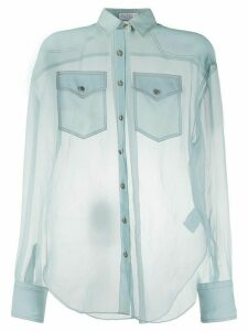 Brunello Cucinelli sheer silk shirt - Blue