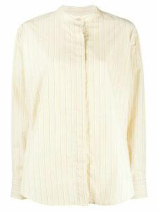 Isabel Marant Satchell striped band-collar shirt - Yellow
