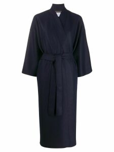 Harris Wharf London belted waist side slit coat - Blue
