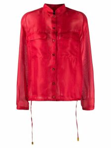 Giorgio Armani sheer drawstring shirt - Red