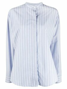 Isabel Marant Satchell striped band-collar shirt - Blue