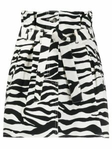 The Attico zebra print paperbag waist skirt - Black