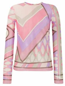 Emilio Pucci abstract print sheer top - PINK