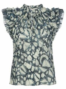 Ulla Johnson Dira ruffled-sleeves blouse - Blue