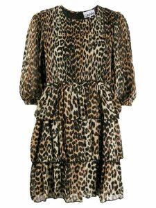 GANNI leopard print tiered dress - Brown