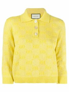 Gucci GG embroidered polo shirt - Yellow