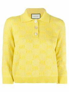 Gucci GG embroidered polo shirt - Yellow
