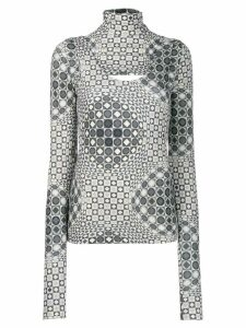 No Ka' Oi cut-out printed top - Grey