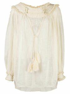Oscar de la Renta tassel detail blouse - NEUTRALS