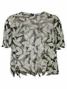 Oscar de la Renta adorned crystal leaves blouse - SILVER