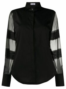 Brunello Cucinelli sheer-panel long sleeve shirt - Black