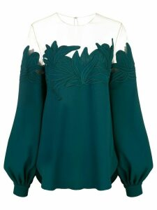 Oscar de la Renta puff-sleeve blouse - Green