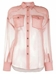Brunello Cucinelli sheer silk shirt - PINK