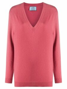 Prada relaxed v-neck jumper - PINK