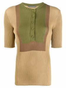 Alberta Ferretti knitted colour blocked top - NEUTRALS