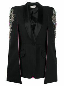 Alexander McQueen embellished cape-style blazer - Black