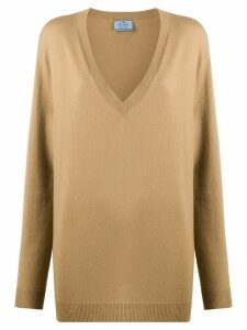 Prada relaxed v-neck jumper - Brown