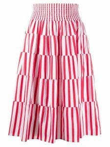 Prada striped tiered midi skirt