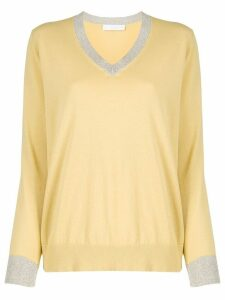 Fabiana Filippi contrast trimmed relaxed-fit jumper - Yellow