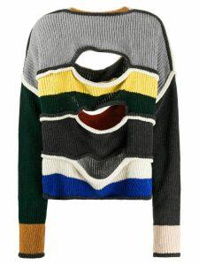 Eckhaus Latta slashed ribbed wool blend jumper - Grey