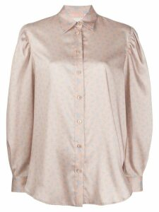 Drome floral print satin blouse - NEUTRALS