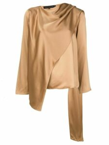 Sally Lapointe draped asymmetric blouse - NEUTRALS