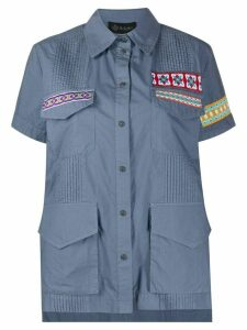 Mr & Mrs Italy embroidered patch pleated cotton shirt - Blue