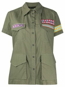 Mr & Mrs Italy embroidered patch pleated cotton shirt - Green