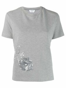 Thom Browne Floral Icon Sequin Side Slit T-shirt - Grey