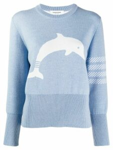 Thom Browne 4-Bar Dolphin Icon Jacquard Pullover - Blue