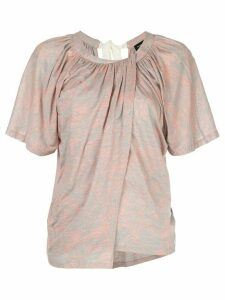 Proenza Schouler palm printed overlapped T-shirt - PINK