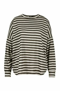 Womens Plus Stripe Longsleeve Sweatshirt - Grey - 20, Grey