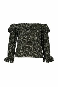 Womens Plus Bardot Ditsy Floral Ruffle Top - black - 20, Black