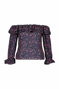 Womens Plus Bardot Ditsy Floral Ruffle Top - Navy - 20, Navy